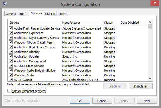 Windows msconfig utility - Services tab