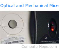 Bottom of optical-mechanical and optical computer mouse