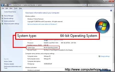 How to determine if you have a 64 bit or 32 bit cpu for Window 64 or 32