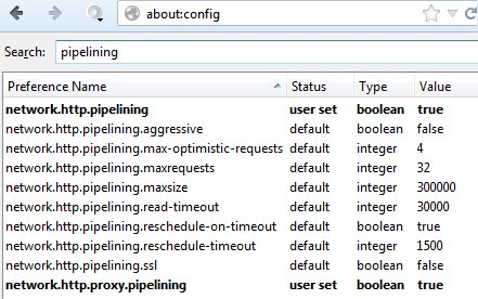 Firefox about:config pipelining