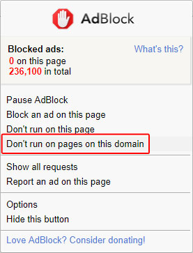 Don't block pages on this domain.
