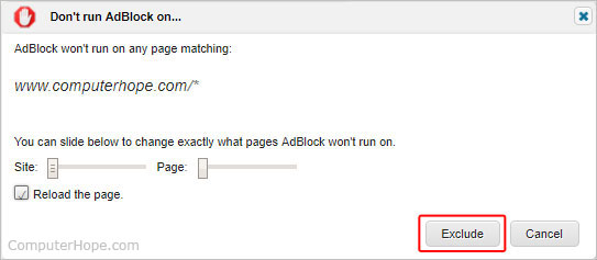 The button to exclude on AdBlock.