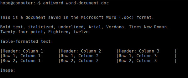 Output of antiword, converting a word document to plain text