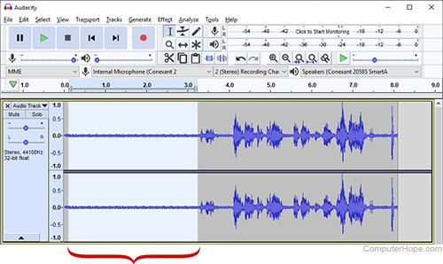 Screenshot: In an Audacity track, highlight several seconds that contain only the ambient noise.