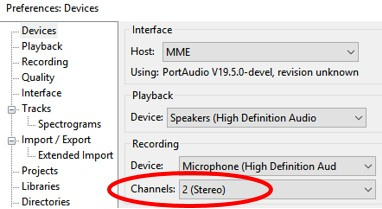 Audacity Channels setting