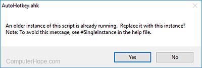AutoHotkey update script confirmation prompt
