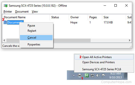 Cancel a print job in Windows