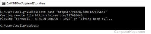 Screenshot: Casting Vimeo to Chromecast with CATT.