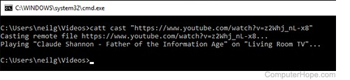 Screenshot: Casting YouTube to Chromecast with CATT.