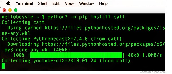 Screenshot: Install CATT on macOS.