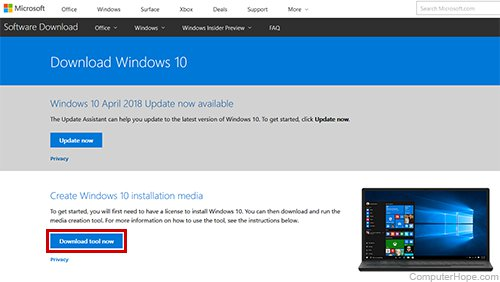 Download the Media Creation Tool from Microsoft