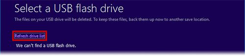 No drive found; insert drive and click Refresh
