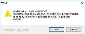Final warning before overwriting USB