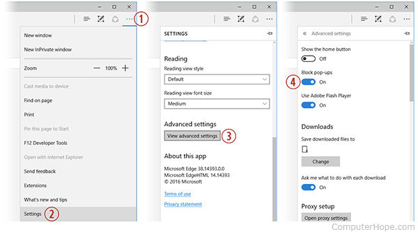 Turning on the pop-up blocking in Microsoft Edge