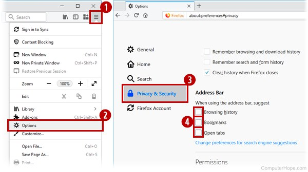 Configuring address bar suggestions in Mozilla Firefox