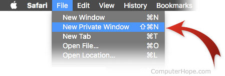 Opening a private browsing window in Safari