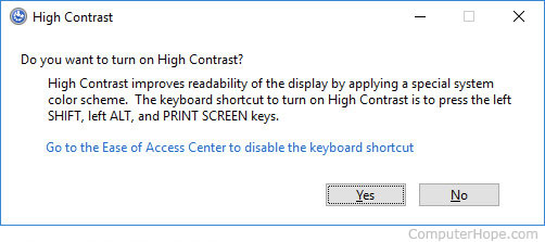 Turning on High Contrast mode in Windows 10