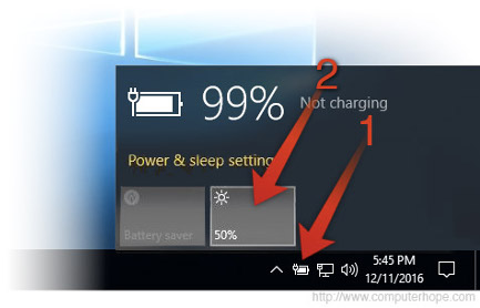 Adjusting screen brightness in Windows 10 using the taskbar battery icon