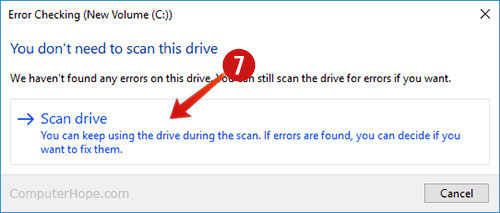 Choosing Scan Disk in the Windows 10 Error checking window