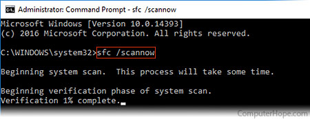 Running sfc /scannow in the Windows 10 Admin Command Prompt