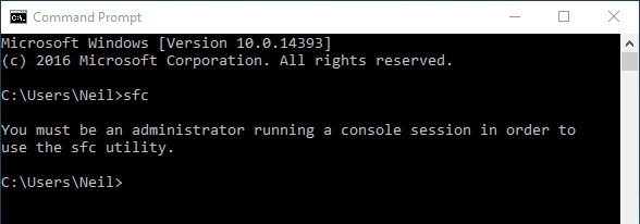 Windows 10 command prompt error: Administrator privileges required