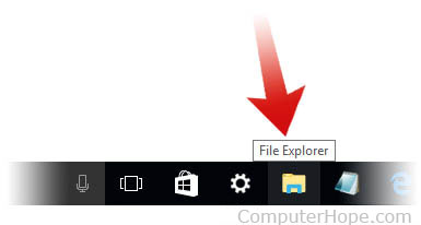 Running explorer from the Windows 10 taskbar