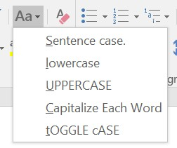 Change Case menu in Microsoft Word