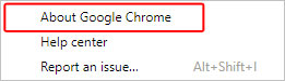 The menu option to see the version of Chrome that is currently installed.