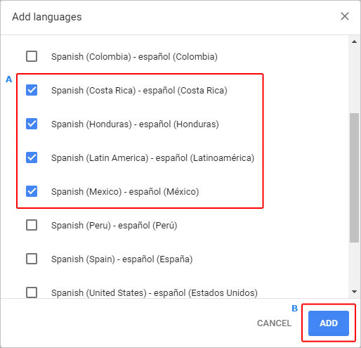 The menu in which users may add new languages to Chrome.