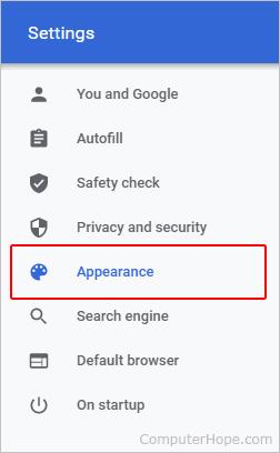 Chrome Appearance selector.