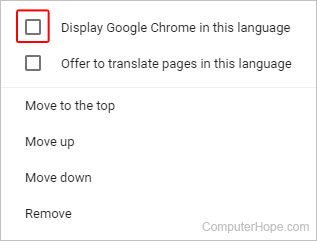 How to change the default language of an Internet browser