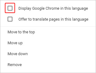 The checkbox to select a language in Chrome.