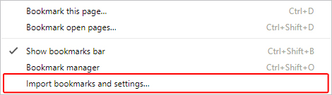 The menu that allows users to import bookmarks and settings in Chrome.