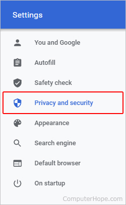 Privacy and security selector.