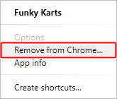 The menu for removing an app in Google Chrome.
