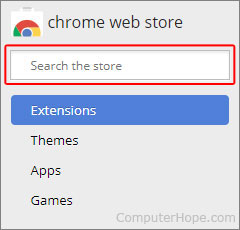 The search box for the Google Chrome web store.