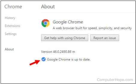 About Google Chrome page