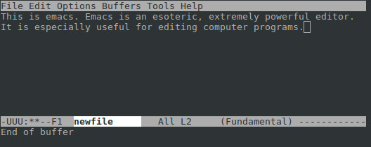 The emacs editor, running on Linux