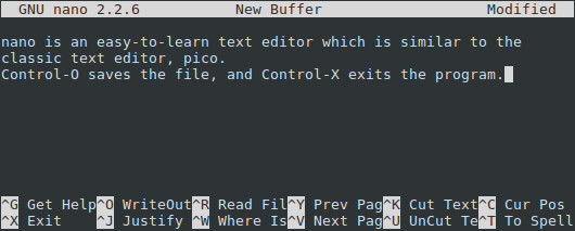 The nano text editor, running on Linux