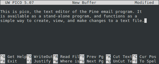 The pico text editor, running on Linux