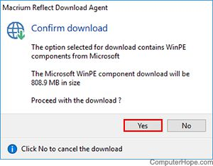 Screenshot: Click Yes to intall Windows Preinstallation Environment module.