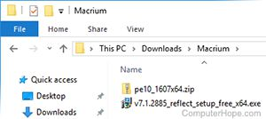 Screenshot: The installer executable is located in a the folder where you downloaded the agent, in a subfolder named Macrium.