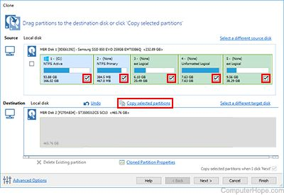 Screenshot: Beneath the source disk, click Copy selected partitions