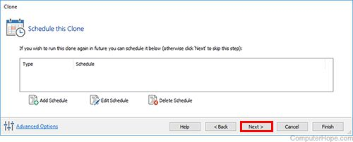 Screenshot: Optional: schedule this clone to happen regularly.