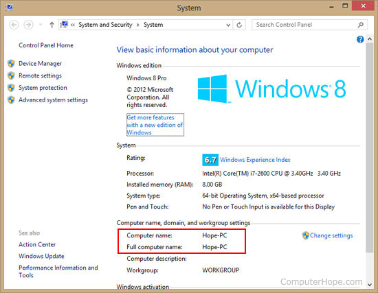 Computer Name in Windows 8