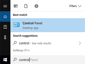 Opening the control panel from the Cortana search bar