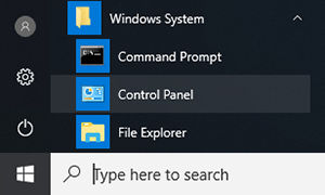 Opening the control panel from the start menu