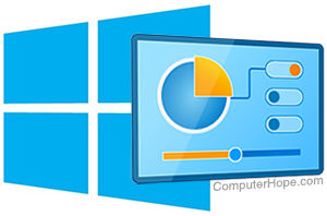 Windows logo and Control Panel icon