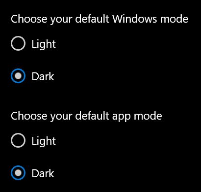 Dark Mode settings in Windows