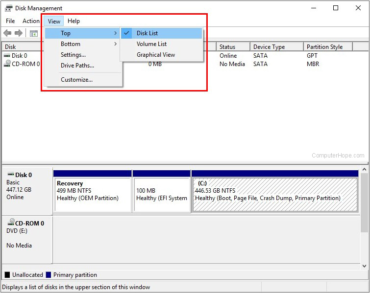 Disk list menu in Windows, showing disk drives